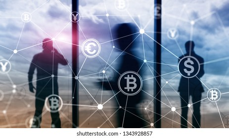 Double exposure Bitcoin and blockchain concept. Digital economy and currency trading