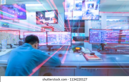 Double exposure Blurred motion light of man Engineering operations checking production process,Control room of a steam Turbine,Generators in the coal-fired power plant for monitor process.