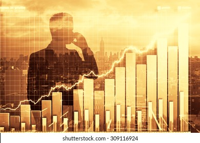 Double exposure with business graph and man talking on cell phone