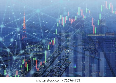 Double exposure business growth graph and line connection on city and money background