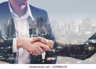 Double exposure of business handshake after success deal for corporation partnership.