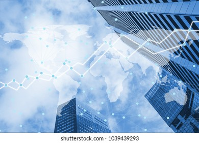 Double exposure business inveatment trading graph on capital finace building smart city background. Element of this image furnished by NASA