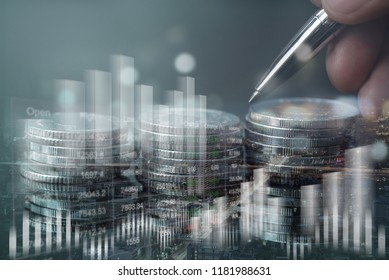Double exposure, business man analysing economy trends, city, coin, bank account with financial graph, business finance and banking, risk management, business investment, stock market analysis concept