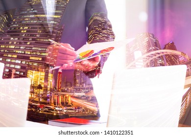 Double exposure of business man are checking the project in paperwork at home office with filter effect , business meeting concept