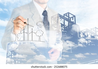 double exposure business man environment conserve and factory cloud background