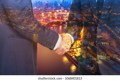 Double exposure business man hand shaking with container ship in import export and business logistic with oil terminal is industrial facility for storage of oil and petrochemical ready for transport t