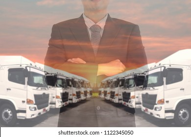 Double exposure of business man with Haulage trucking fleet as in trucking manager.
