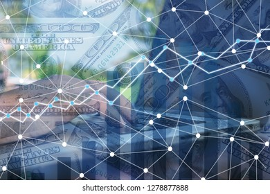 Double exposure business networl on trading graph and city background