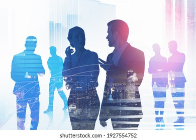 Double exposure of business people chatting and conduct meeting at office workspace. New York on background. International consulting office