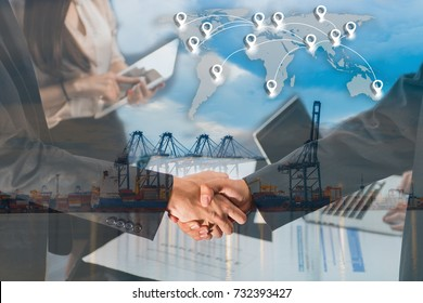 Double exposure of business people handshake greeting deal concept on Industrial port with containers cargo ship background and map pin flat network conection on world global cartography globalization