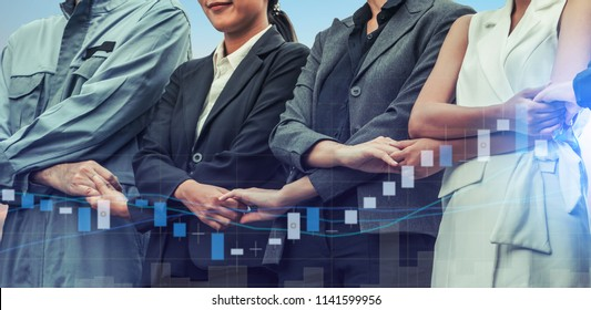 Double exposure business people holding hands with success growth chart.