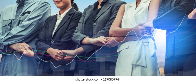 Double exposure business people holding hands together showing workers relationship, unity and teamwork. Human resources and people recruitment concept.