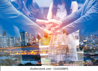 Double exposure Business people of Marketing team  with a Partnership greeting power tag team,Teamwork Join Hands Partnership Concept after complete deal,Successful Teamwork Partnership  image