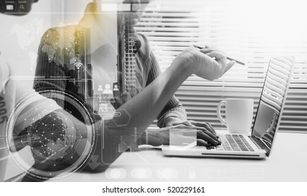 Double exposure of business people meeting to discuss the situation on the marketing, businessman and businesswoman talk about meeting subject on data, copy space, mock up.