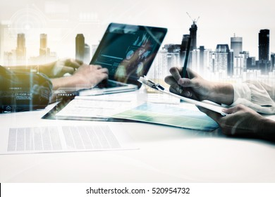 Double exposure of business people meeting to discuss the situation, businessman and businesswoman talk about somthing on data for development, copy space, mock up.