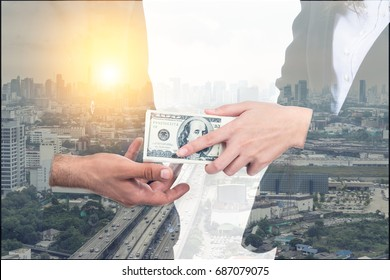 Double exposure of business people offering hundred American dollar banknotes money. Businesswoman giving hundred dollars to businessman to make contract for corruption business,bribe,venality concept