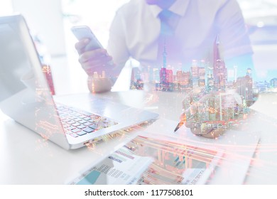 Double exposure business person