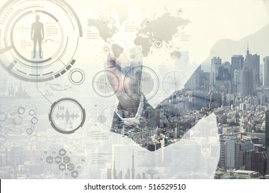double exposure of a business person and smart city, futuristic GUI(Graphical User Interface), IoT(Internet of Things), technological abstract