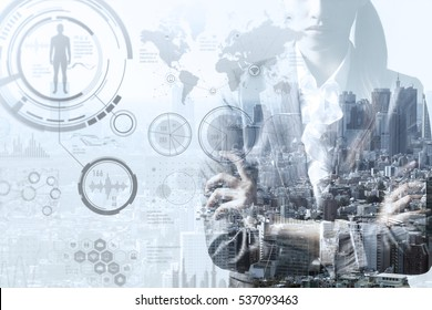 double exposure of a business person and smart city concept