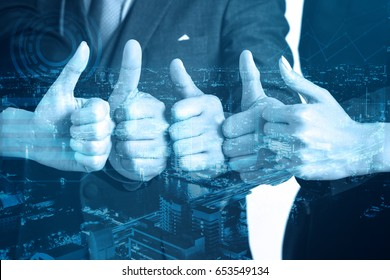 double exposure business teamwork show hands with thumb up, very good, successful concept, effect