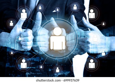 double exposure business teamwork show hands with thumb up and people networking, successful concept