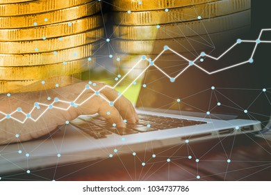 Double exposure business trading graph on smart city background