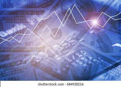 Double exposure business trading graph on money and credit card background
