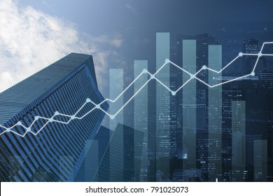 double exposure business trading graph on network and city background