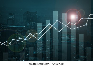 double exposure business trading investment graph on city and credit card background