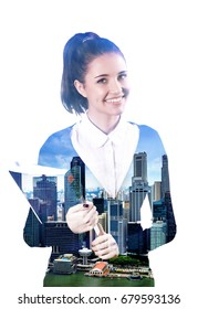 Double exposure of business woman and city isolated white background.