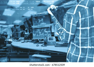 Double exposure of business woman with glasses in hipster shirts holding tablet for check stock market graph with stock and computer graph background, Business Trading concept.
