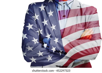 Double Exposure of Businessman with America flag as American Business Hero on fouth of July Concept