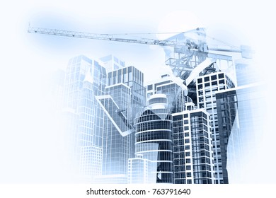 Double Exposure Businessman or Architect use Digital Wireless Mobile Phone with City Building and Expressway as Light High Speed Internet Technology for Business industrial Telecommunication Concept