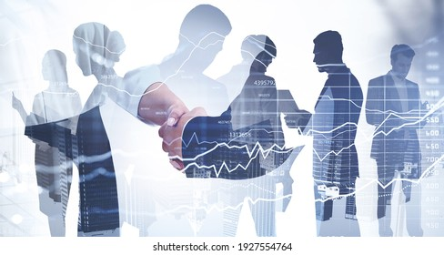 Double exposure of businessman and businesswoman handshake on stock market graph background and New York downtown. Concept financial transaction and deal processing.
