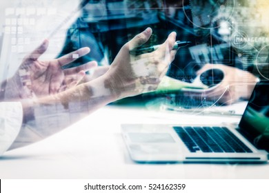 Double exposure of businessman and businesswomen meeting to discuss the situation on the target marketing with film effect for design or decorate business content, copy space.