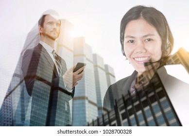 Double exposure of a businessman and city using mobile phone. customer support operator technology media concept.