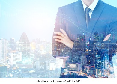 double exposure Businessman  with city view. Space for your business message.Commitment and commitment to success.