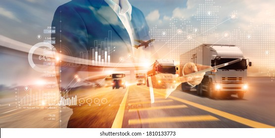 Double exposure of businessman and graph growth of business with world map of transportation and logistics network distribution and trucks of industrial cargo freight for shipping. import-export.  - Shutterstock ID 1810133773
