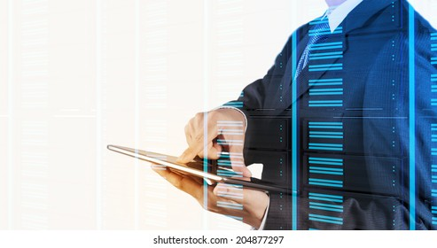 Double exposure of businessman hand pressing a touchscreen button on server background