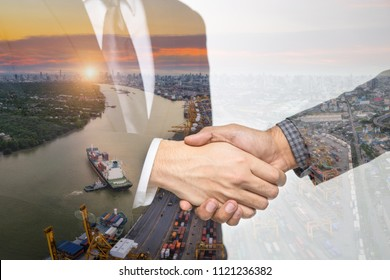 Double Exposure of a businessman handshake on the container,container ship in import export and business logistic,By crane ,Trade Port , Shipping,cargo to harbor background.