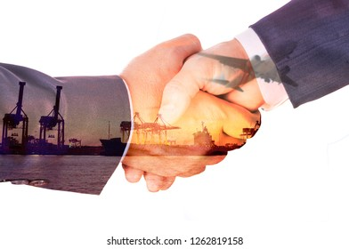 Double Exposure of Businessman Handshake and Port Cargo and Airplane as International Transportation or import and Export Business concept