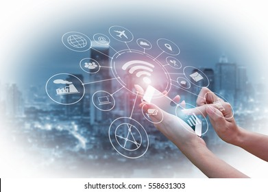 Double exposure of Businessman holding smartphone, Concept communication network digital technology via internet wireless.