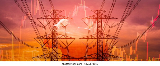 Double exposure - Businessman with leadership,electric pole, and sky stock graph background,concept of volatility stocks and energy businesses in global market, banner panoramic horizontal for header