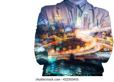 Double Exposure of BusinessMan with Modern City Building and Highway as Real Estate Development Business