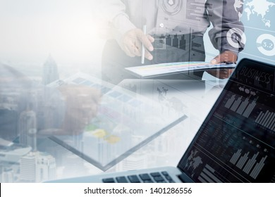 Double Exposure Businessman and Stock Market exchange . Abstract Finance Investment background for Business idea