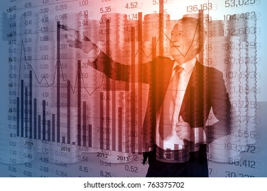 Double Exposure of Businessman in Suit with Group of Money Gold Coin with Candlestick present Stock Trading Graph and Currency Exchange Rate as Funding Investment Management Concept.