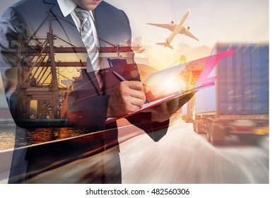 Double exposure of Businessman in a suit signing or writing a document in front Industrial Container Cargo freight ship for Business Insustrail Logistic Import Export concept