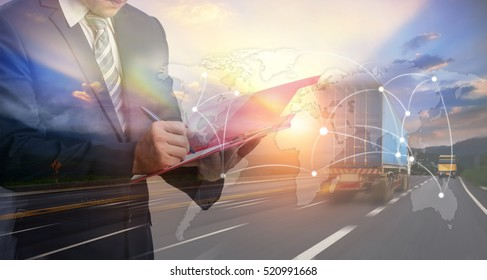 Double exposure of Businessman in a suit signing or writing a document in front Industrial Container Cargo freight ship, Map global logistics partnership connection for Logistics Import Export