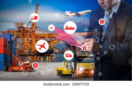 Double exposure of Businessman in a suit signing or writing a document in front Industrial Container Cargo freight ship, Online goods orders worldwide Internet of Things concept