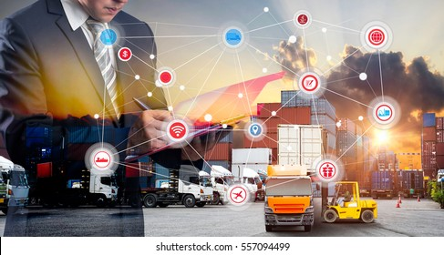 Double exposure of Businessman in a suit signing or writing a document in front Industrial Container Cargo freight ship, Map global logistics partnership connection of Container Cargo freight ship
